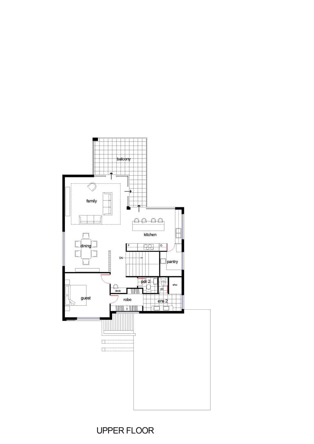 The Oceanview Upper Floor Plan