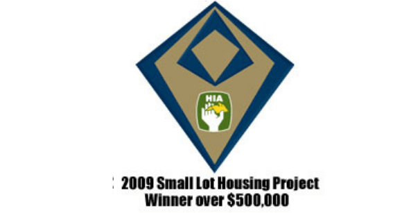 The 2009 Small Lot Housing Project Winner award for Exclusive Residence.